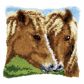 Latch Hook Kit: Cushion: Horses 3