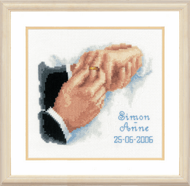 Counted Cross Stitch Kit: Wedding Record: With this Ring By Vervaco