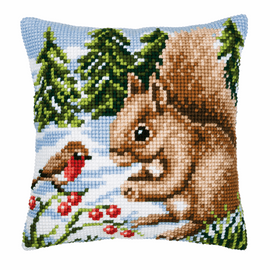 Cross Stitch Kit: Cushion: Winter Scene Squirrel/Robin By Vervaco
