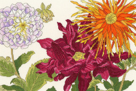 Dahlia Blooms Cross Stitch Kit by Bothy Threads