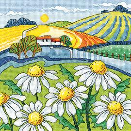 Daisy Landscape Cross Stitch Kit by Heritage
