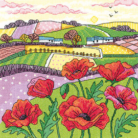 Poppy Landscape Cross Stitch Kit by Heritage