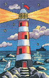 Light House By Night Cross Stitch By Heritage