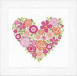 Counted Cross Stitch Kit: Floral Heart By Vervaco