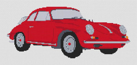 PORSCHE 356 1961 CROSS STITCH CHART - RED