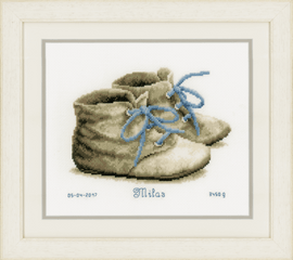 Counted Cross Stitch Kit: Birth Record: Baby Shoes By Vervaco