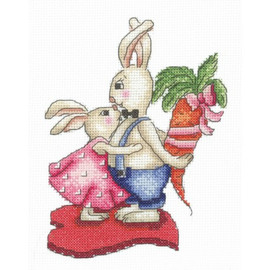 BUNNIES LOVE AND CARROTS -cross stitch by Andriana