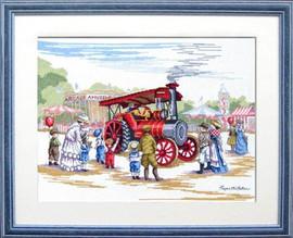 Steam Engine Cross Stitch Kit by Faye Whittaker