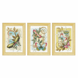Counted Cross Stitch Kit: Deco Butterflies: Set of 3 By Vervaco