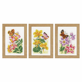 Counted Cross Stitch Kit: Miniatures Butterflies: Set of 3 By Vervaco