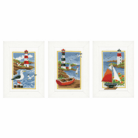 Counted Cross Stitch Kit: Lighthouse: Set of 3 By Vervaco