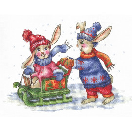 BUNNIES WINTER GAMES-cross stitch kit by Andriana