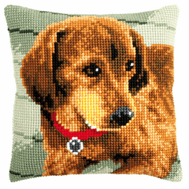 Cross Stitch Kit: Cushion: Dachshund By Vervaco