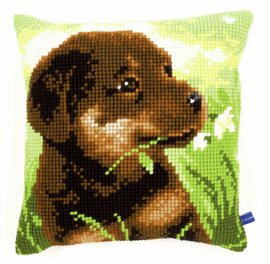Cross Stitch Kit: Cushion: Rottweiler Puppy By Vervaco