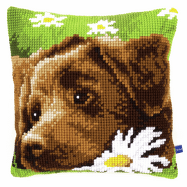 Cross Stitch Kit: Cushion: Chocolate Labrador By Vervaco