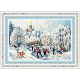 Christmas Morning Cross Stitch Kit by Golden Fleece