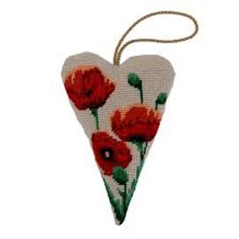 Red poppy Lavender Heart Tapestry Cushion