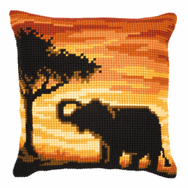 Cross Stitch Kit: Cushion: Sunset Elephant By Vervaco