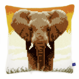 Cross Stitch Kit: Cushion: Elephant in the Savannah By Vervaco