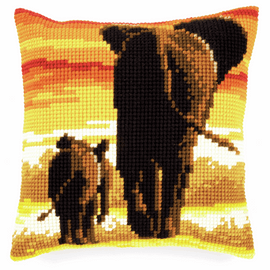 Picture of Cross Stitch Kit: Cushion: Elephants By Vervaco