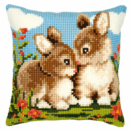 Cross Stitch Kit: Cushion: Rabbits By Vervaco
