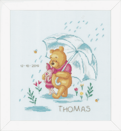 Winnie the Pooh in the Rain Cross Stitch Kit by Vervaco