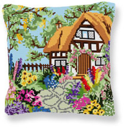 Summer Cottage Tapestry cushion kit by Brigantia