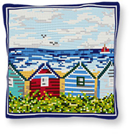 Beach Huts Tapestry cushion kit By Brigantia
