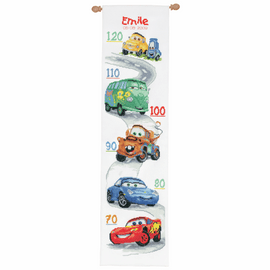 Counted Cross Stitch Kit: Height Chart: Disney: Cars By Vervaco
