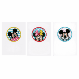 Counted Cross Stitch Kit: Cards: Disney: Minnie & Mickey: Set of 3 By Vervaco