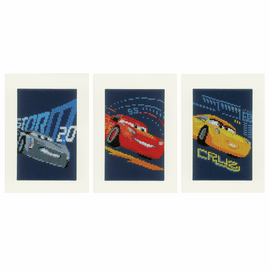 Counted Cross Stitch Kit: Cards: Disney: Cars - Screeching Tyres: Set of 3 By Vervaco