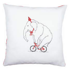 Embroidery Kit: Cushion: Elephant On Bike By Vervaco