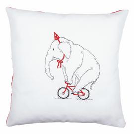 Embroidery Kit: Cushion: Elephant On Bike By Vervaco
