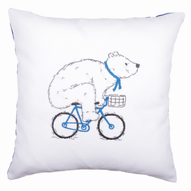 Embroidery Kit: Cushion: Cycling Bear By Vervaco