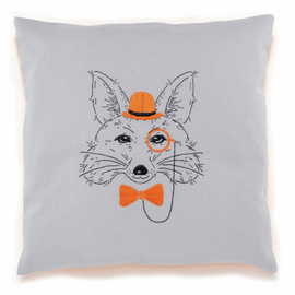 Embroidery: Cushion: Fox with Orange Glasses By Vervaco