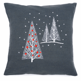 Embroidery Kit: Cushion: Christmas Trees By Vervaco