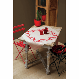 Embroidery Kit: Tablecloth: Red Leaf Design By Vervaco
