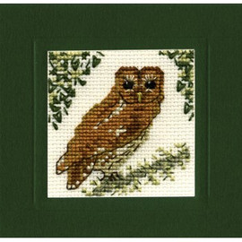 Tawny Owl Miniature Card By Textile Heritage
