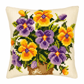 Cross Stitch Kit: Cushion: Yellow and Purple Pansies By Vervaco