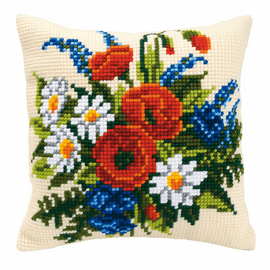 Cross Stitch Kit: Cushion: Mixed Flowers By Vervaco 2
