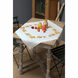 Embroidery Kit: Tablecloth: Autumn Leaves By Vervaco