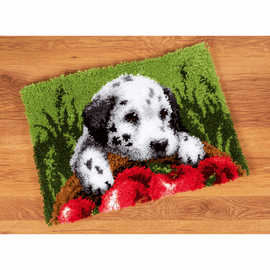 Latch Hook Kit: Rug: Dalmatian with Apples By Vervaco