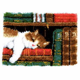 Latch Hook Kit: Rug: Cat on Bookshelf By Vervaco