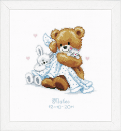 Counted Cross Stitch Kit: Birth Record: Teddy & Blanket By Vervaco