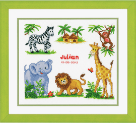 Counted Cross Stitch Kit: Birth Record: Zoo Animals by Vervaco