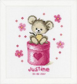Counted Cross Stitch: Birth Record: Mouse By Vervaco