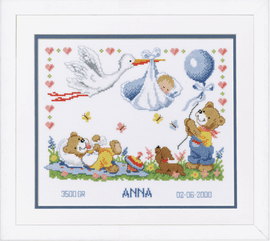 Counted Cross Stitch Kit: Birth Record: New Arrival By Vervaco