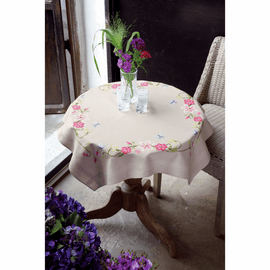Embroidery Kit: Tablecloth: Flowers & Butterfly By Vervaco