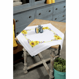 Embroidery Kit: Tablecloth: Sunflowers By Vervaco
