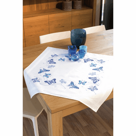 Embroidery Kit: Tablecloth: Blue Butterflies By Vervaco
